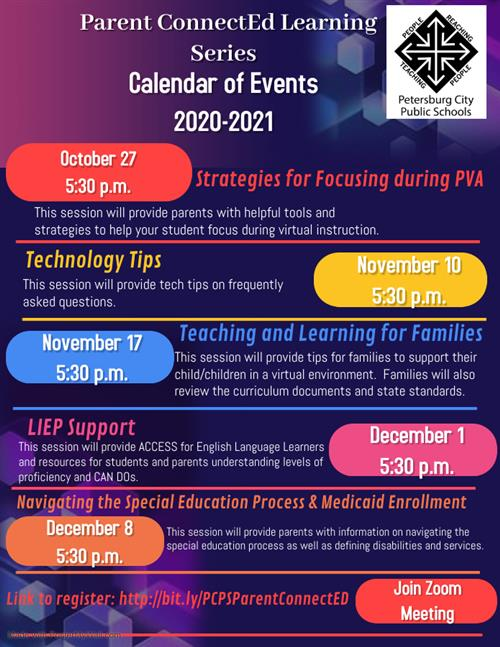 Calendar of Events for Learning Series