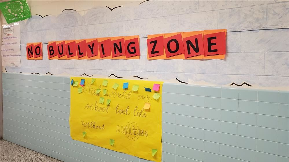 Bulletin board displays no bully zone