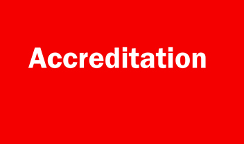 accreditation written on a red background