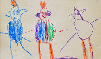 young child's drawing showing three people
