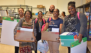 Teachers choose what they need from the Petersburg Teacher Supply Closet