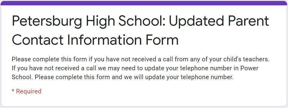 Updated Parent Contact Information Form