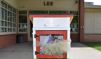 red-and-white Little Free Library