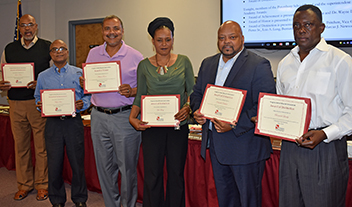 School Board members with awards