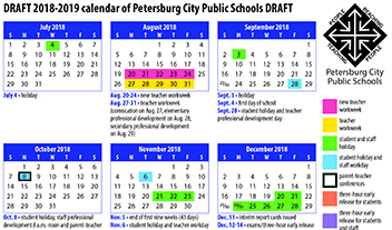 graphic showing part of proposed calendar
