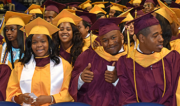 Petersburg High graduates in caps and gowns