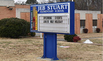 school name sign outside J.E.B. Stuart Elementary
