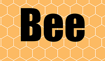 "the word ""bee"" on a honeycomb"