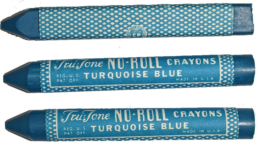 three turquoise crayons