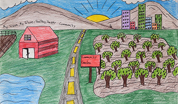 poster showing community garden and city skyline